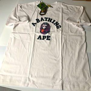 Bape White Mens XXL Camo Ape Head T-Shirt